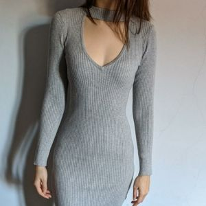 Guess Knit Ribbed Grey Bodycon Dress Size M